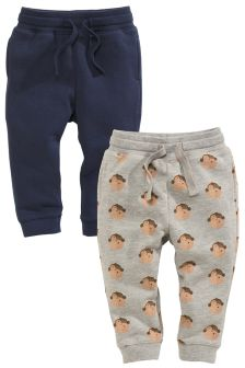 Navy/Grey Monkey Printed Joggers Two Pack (3mths-6yrs)