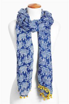 Blue Elephant Print Scarf