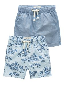 Blue Palm Print Shorts Two Pack (3mths-6yrs)