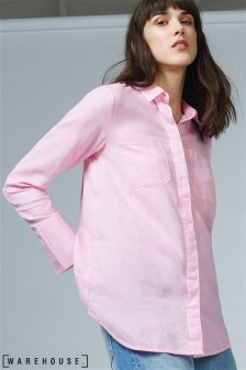 Warehouse Pink Relaxed Twin Pocket Shirt