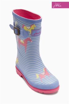 Navy Little Joule Horse Printed Welly