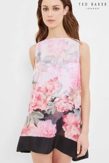 Ted Baker Pink Floral Painted Posie Cover Up Beach Dress