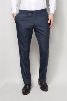 Wool Blend Plain Front Trousers