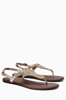 Silver Beaded Knot Sandals