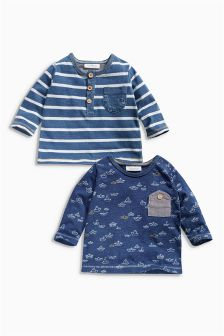 Navy Long Sleeve T-Shirts Two Pack (0mths-2yrs)