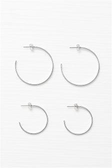 Silver Coloured Hoop Earrings Two Pack