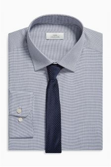 Mini Check Regular Fit Shirt And Tie Set