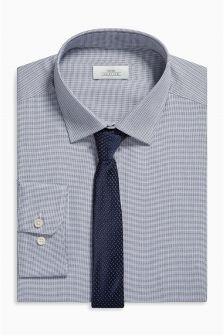 Mini Check Regular Fit Shirt And Tie Set