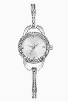 Silver Embellished Skinny Bracelet Watch