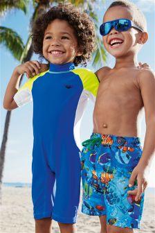 Blue Colourblock Surf Suit (3mths-6yrs)
