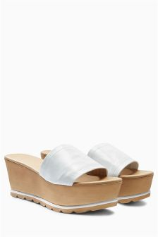 Leather Mule Wedges
