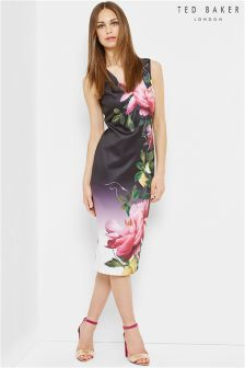 Ted Baker Nude Pink Citrus Bloom Pleat Midi Dress