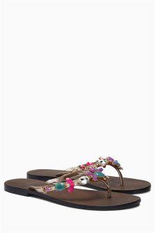 Premium Coloured Jewel Toe Thong Sandals