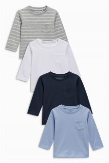 Stripe Long Sleeve T-Shirts Four Pack (3mths-6yrs)