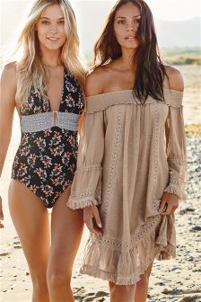 Tan Off The Shoulder Embroidered Short Dress
