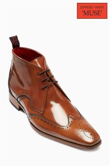 Jeffery West Tan Hi Shine Brogue Chukka Boot