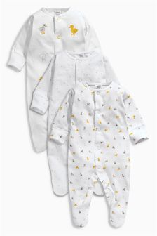 White Duck Sleepsuits Three Pack (0-12mths)