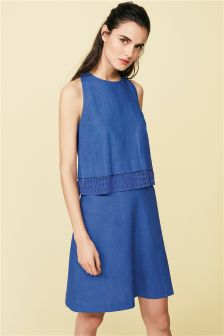 Cobalt Linen Blend Layer Dress
