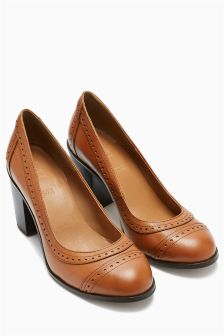 Tan Premium Leather Brogue Courts