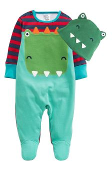 Dino Sleepsuit And Hat Set (0mths-2yrs)