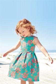 Green Floral Prom Dress (3mths-6yrs)