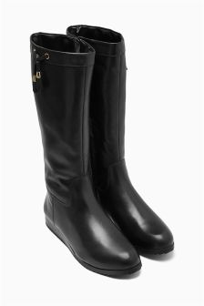 Black Casual Leather Wedge Boots