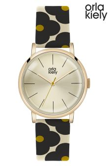 Orla Kiely Navy Floral Print Watch