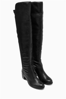 Black Leather Over The Knee Fitted Boots
