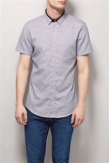 Burgundy Textured Contrast Collar Shirt