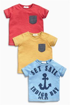Multi Anchor T-Shirts Three Pack (0mths-2yrs)