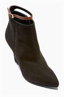 Black & Tan Strap Point Wedge Boots