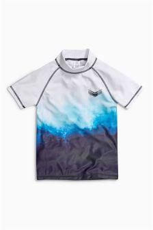 Blue/White Printed Wave Rash Vest (3-16yrs)