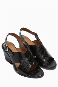Black Leather Crossover Slingback Sandals
