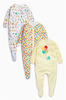 Bright All-Over Print Sleepsuits Three Pack (0mths-2yrs)