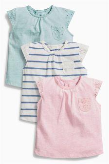 Stripe/Pink/Green T-Shirts Three Pack (0mths-2yrs)