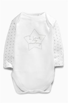 White Mummy Long Sleeve Bodysuit (Omths-2yrs)
