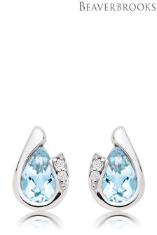 Beaverbrooks 9ct White Gold Diamond Aquamarine Stud Earrings