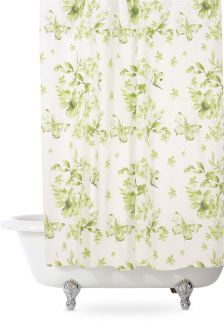 Green Floral Shower Curtain
