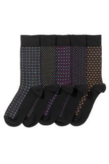 Black Formal Geo Socks Five Pack