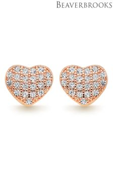 Beaverbrooks Silver Rose Gold Plated Cubic Zirconia Heart Earrings