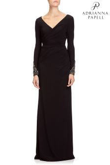Adrianna Papell Black Draped Long V-Neck Dress