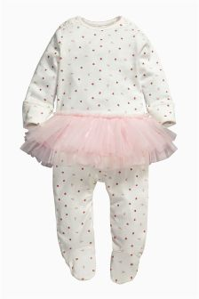 Pale Pink Strawberry Tutu Sleepsuit (0-9mths)