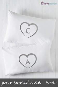 Personalised Silver Heart Pillowcases By Loveabode