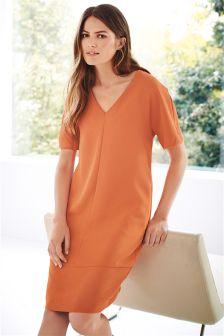 Orange Textured Shift Dress