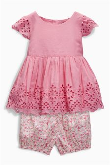 Pink Broderie Blouse Set (3mths-6yrs)