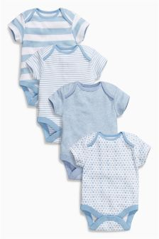 Short Sleeve Bodysuits Four Pack (0mths-3yrs)