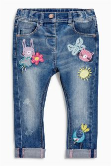 Badge Embellished Jeans (3mths-6yrs)