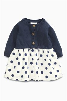 Navy/White Knit Spot Dress (0mths-2yrs)