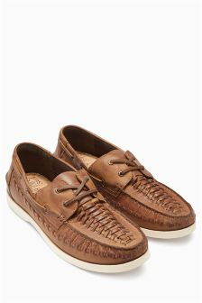 Leather Weave Boat Shoe