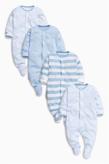 Blue Sleepsuits Four Pack (0mths-2yrs)